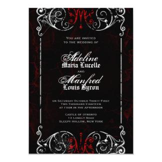 """Boda rojo del Victorian gótico, negro y blanco Invitación 5"""" X 7"""""""