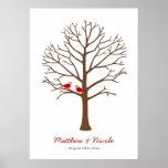 Boda rojo marrón del árbol de la huella dactilar d póster