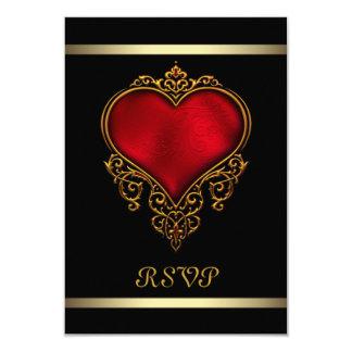 Boda rojo negro del corazón invitación 8,9 x 12,7 cm
