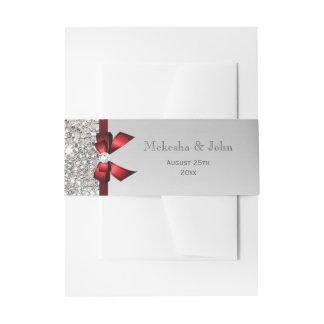 Boda rojo personalizado del arco y de diamantes cintas para invitaciones