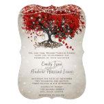 Boda rojo rústico del árbol de la hoja del corazón comunicados