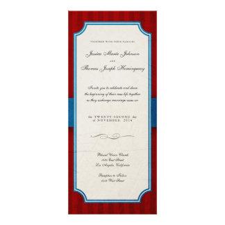 Boda rojo y azul del encanto del vintage del monog invitaciones personalizada