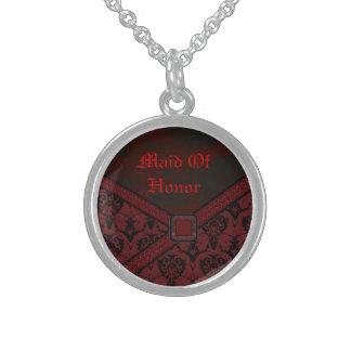 Boda rojo y negro del cordón del gótico collares personalizados