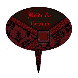 Boda rojo y negro del cordón del gótico decoración para tarta
