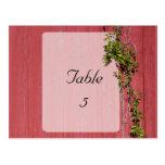 Boda rojo y rosado con el lugar de la tabla de la  tarjeta postal