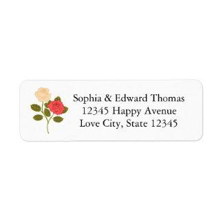 Boda romántico de la rosaleda etiqueta de remitente