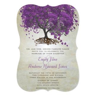 Boda romántico del árbol de la hoja de Purple Anuncio Personalizado