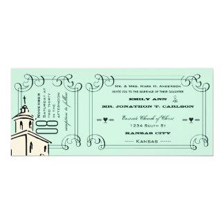 Boda romántico del boleto de la capilla de la invitación 10,1 x 23,5 cm