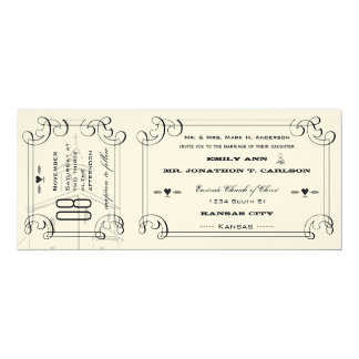 Boda romántico del boleto de la capilla invitación 10,1 x 23,5 cm