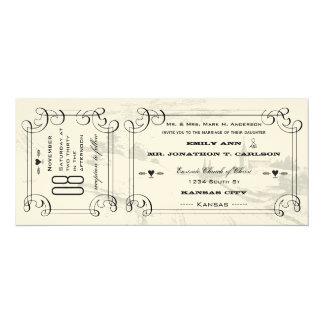 Boda romántico del boleto de la carretera nacional invitación 10,1 x 23,5 cm