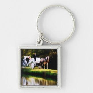 Boda romántico del caballo de carro llaveros personalizados