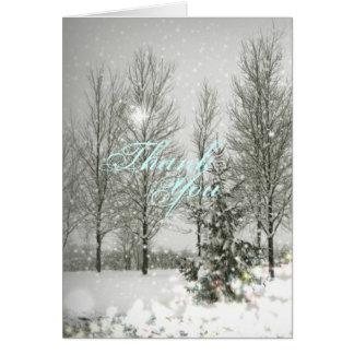 Boda romántico del invierno de los árboles de tarjeta de felicitación