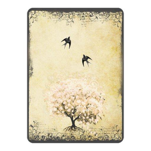 """Boda romántico del pájaro del amor del árbol del invitación 5"""" x 7"""""""
