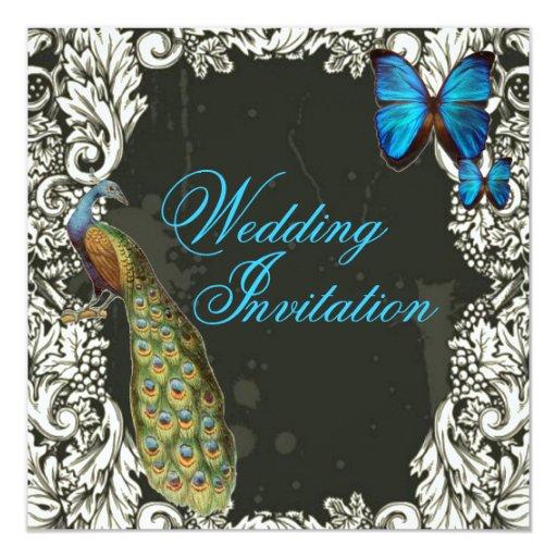"""boda romántico del pavo real del trullo de la invitación 5.25"""" x 5.25"""""""