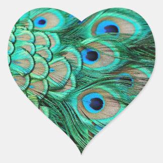 boda romántico del pavo real del trullo de la pegatina en forma de corazón