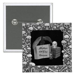 Boda romántico negro y blanco de Spellbook del Pin Cuadrado