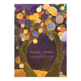 """Boda romántico púrpura de los árboles de amor de invitación 5"""" x 7"""""""