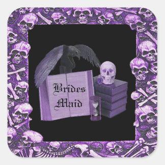 Boda romántico púrpura de Spellbook del cráneo Pegatinas Cuadradases Personalizadas