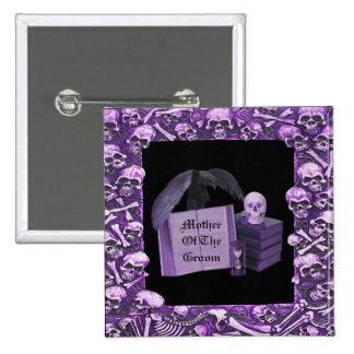 Boda romántico púrpura de Spellbook del cráneo Pin Cuadrado