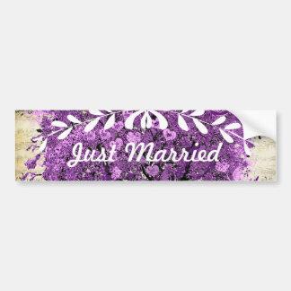 Boda romántico púrpura radiante de la hoja del pegatina para auto