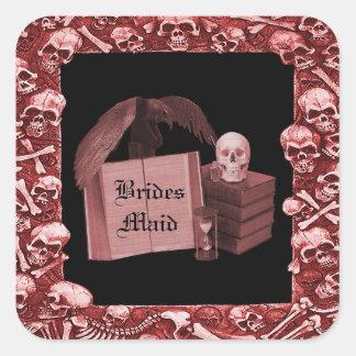 Boda romántico rojo de Spellbook del cráneo Calcomanías Cuadradass