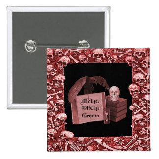 Boda romántico rojo de Spellbook del cráneo Pin Cuadrado