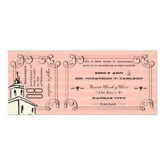 Boda romántico rosado del boleto de la capilla de invitación 10,1 x 23,5 cm