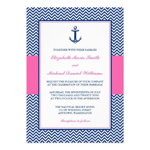 Boda rosado azul del ancla náutica de Chevron Anuncio