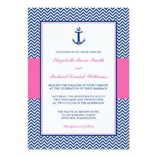 """Boda rosado azul del ancla náutica de Chevron Invitación 5"""" X 7"""""""