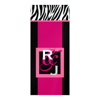"""Boda rosado blanco negro de la cebra del monograma invitación 4"""" x 9.25"""""""