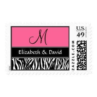 Boda rosado blanco negro del monograma del estampa