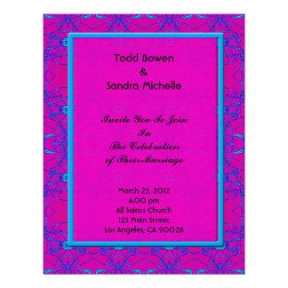 Boda rosado brillante del modelo de la turquesa membretes personalizados