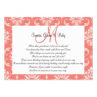 Boda rosado coralino del damasco que desea tarjeta tarjetas de negocios