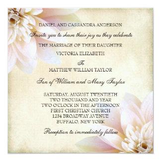 """Boda rosado de la flor de Lotus blanco Invitación 5.25"""" X 5.25"""""""