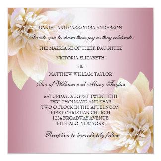 """Boda rosado de la flor de Lotus Invitación 5.25"""" X 5.25"""""""