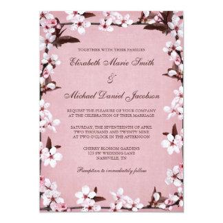 """Boda rosado de la frontera de las flores de cerezo invitación 5"""" x 7"""""""