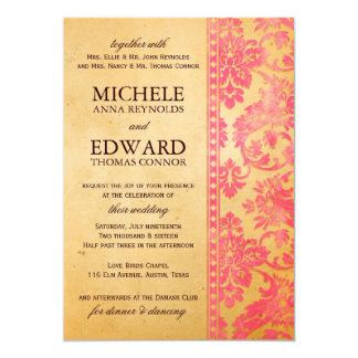 Boda rosado del cordón del damasco del vintage invitaciones personalizada
