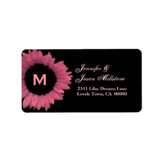 Boda rosado del girasol de la madreselva etiquetas de dirección
