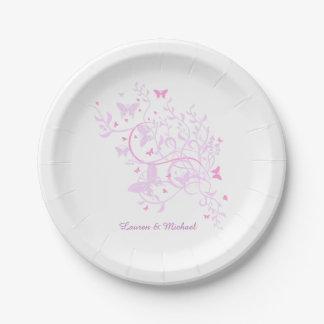 Boda rosado del remolino de la mariposa de la plato de papel de 7 pulgadas