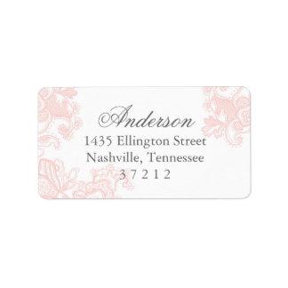 Boda rosado elegante del cordón etiquetas de dirección