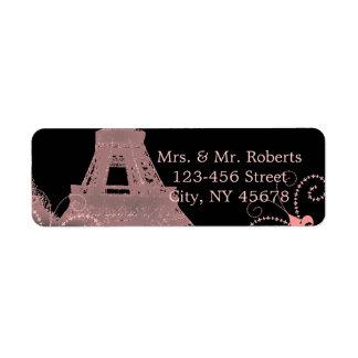 boda rosado negro de París del vintage de la torre Etiqueta De Remite