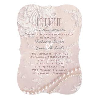 """boda rosado polvoriento del cordón en colores invitación 5"""" x 7"""""""