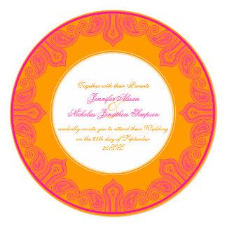 """Boda rosado y anaranjado tropical de la mandala de invitación 5.25"""" x 5.25"""""""