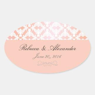 Boda rosado y coralino del damasco colcomanias oval personalizadas