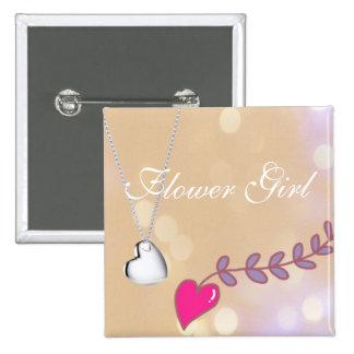 Boda rosado y de plata precioso del florista del pin cuadrado