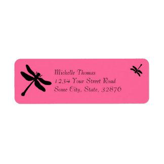 Boda rosado y negro de la libélula etiquetas de remite