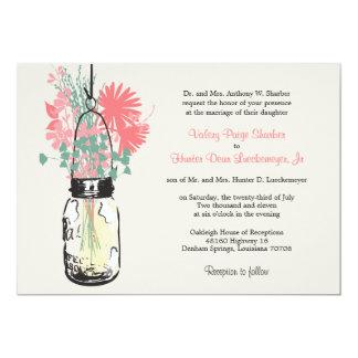 Boda rosado y verde de los Wildflowers y del tarro Invitación 12,7 X 17,8 Cm
