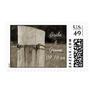 Boda rural de la granja del poste de la cerca sellos postales