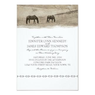 Boda rústico de la granja del caballo invitación 12,7 x 17,8 cm