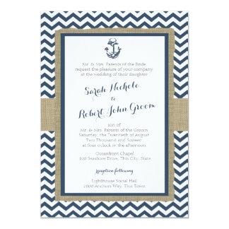 """Boda rústico de los azules marinos del ancla y de invitación 5"""" x 7"""""""
